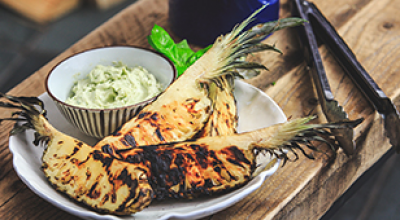 TOASTED PINEAPPLE SKEWERS WITH BASIL CREAM